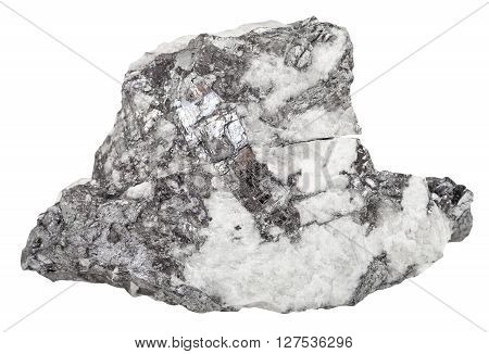 Steel Gray Bismuthinite Mineral In Quartz Stone
