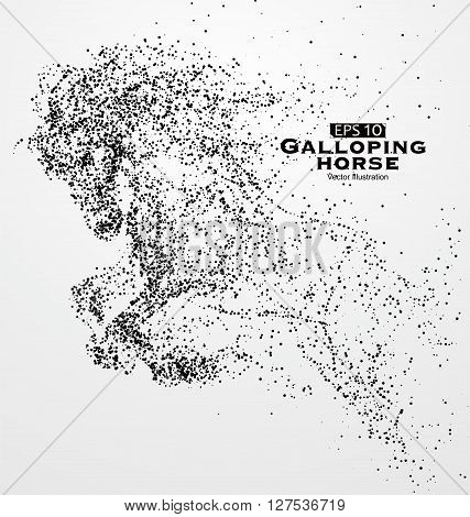 Galloping horseMany particlessketchvector illustration,