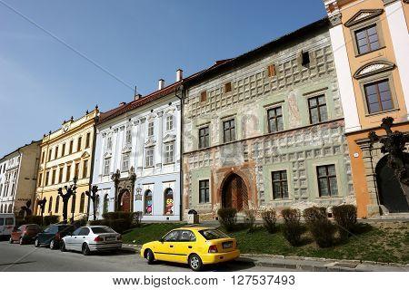 Levoca PRESOV SLOVAKIA - APRIL 03 2016: View on the old colored houses in historical center of Levoca Slovakia.