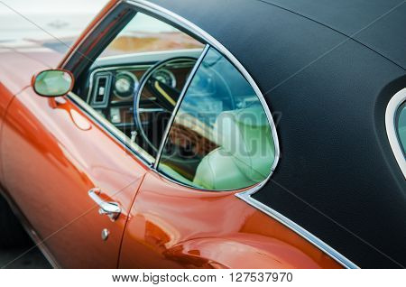 Retro car trimmed in leather close up