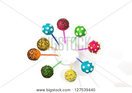 dessert for holiday - cakepops on isolated background