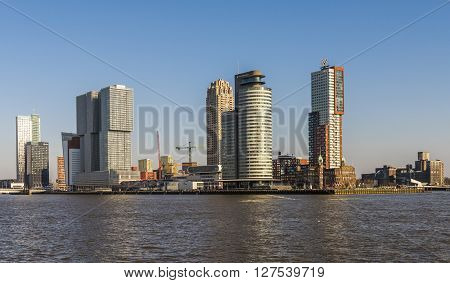 Rotterdam, The Netherlands - February 29, 2016: Wilhelminapier in Rotterdam with skycrapers and offices and Hotel New York.