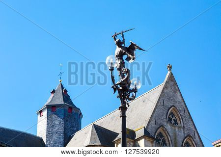 Street light of medieval St. Michael Bridge in Ghent, Belgium