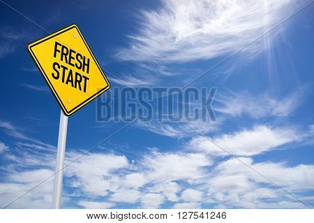 Fresh Start Yellow Road Sign With Blue Sky Background