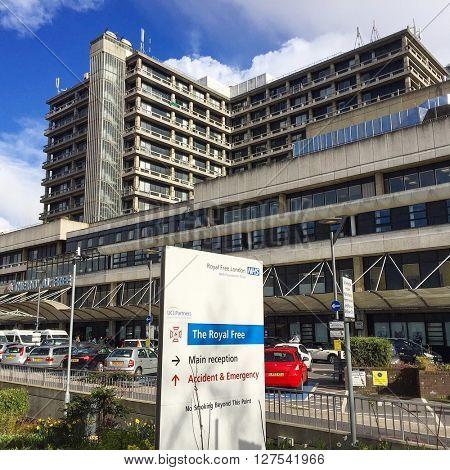 LONDON - APRIL 26: The Royal Free Hospital on April 26, 2016 in Hampstead, London, UK.