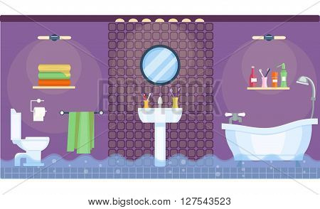 Flooded bathroom interior in flat style. Bathroom design. Home interior. Flooded room. Bathtub and shower, toilet and cabinet, sink and mirror, lamps and towels. Vector illustration. Leakage from the pipe