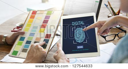 Technology Security Fingerprint Password Concept poster