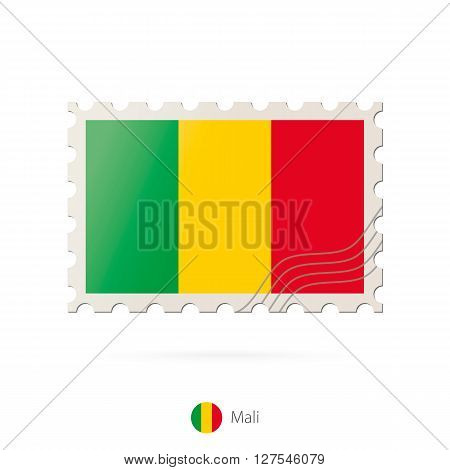 Postage Stamp With The Image Of Mali Flag.