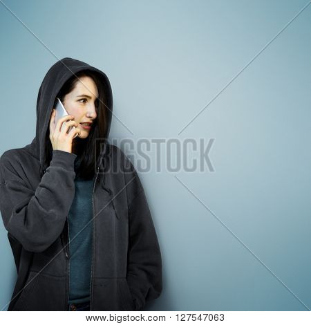 Behind Criminal Female Spying Undercover Staring Concept