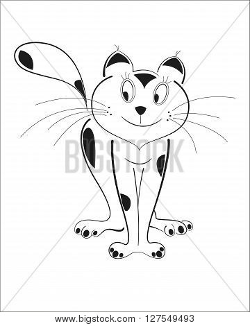Cunning cat isolated black outline vector image