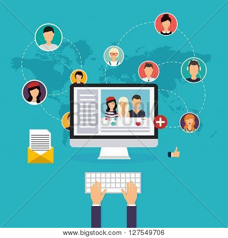 Social Network And Teamwork Concept For Web And Info Graphic. Set Of People Avatars And Icons. Hands