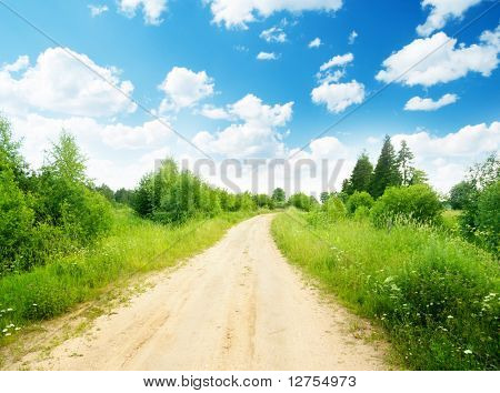 ground road and summer sunny day