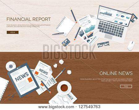 Vector illustration. Flat backgrounds set. Online news. Newsletter, information. Business, market. Financial report.