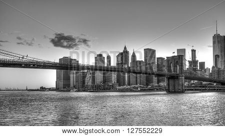 Brooklyn Bridge is a hybrid cable-stayed/suspension bridge in New York City ** Note: Visible grain at 100%, best at smaller sizes