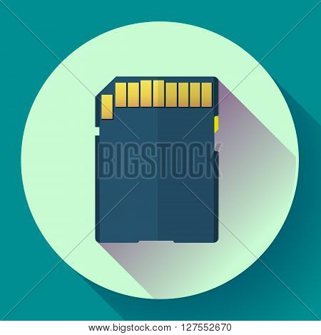 SDHC digital Memory card vector icon. Flat design style.