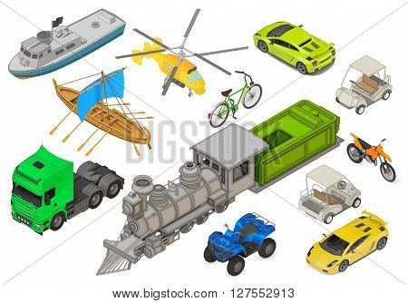 Vehicles set of isometric flat vector 3d illustrations - modern coupe car, yacht, fishing boat, sailboat, yellow helicopter, retro locomotive, bicycle, cargo truck, quad ATV bike. Transport types kit.
