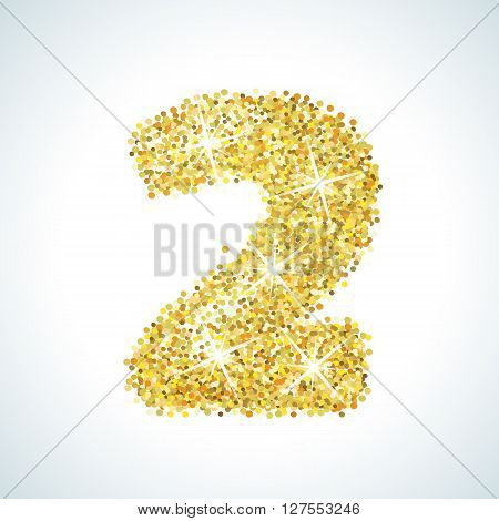 Two number in golden style. illustration gold design. Formed by yellow shapes. For party poster, greeting card, banner or invitation. Cute numerical icon and sign.