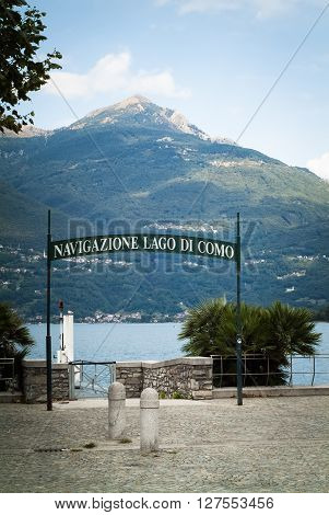 Colico Italy - September 8th 2015: the pier of Colico a town in the northern part of Lake Como (
