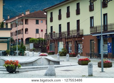 Colico Italy - September 8th 2015: view of the lakeside part of Colico a town in the northern part of Lake Como