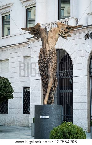 Bergamo, Italy - September 9th 2015: photo of Anima Mundi (The World Soul) a 2011 sculpture by Ugo Riva installed in largo Porta Nuova Bergamo Italy.