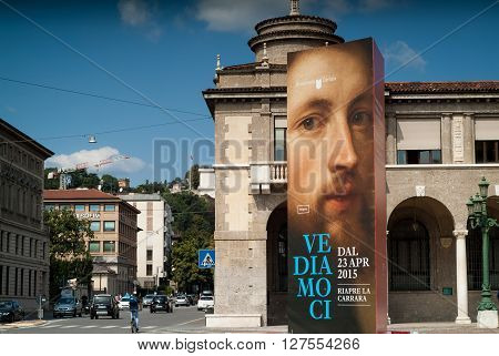 Bergamo, Italy - September 9th 2015: promotional poster for Academia Carrara an art gallery in Bergamo Italy (the text reads