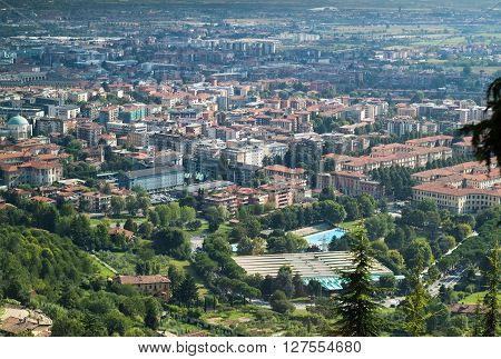 a beautiful view of Bergamo photographed from the upper part of this Italian town