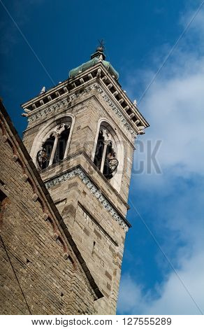 the bell tower of Basilica di Santa Maria Maggiore in Bergamo Italy