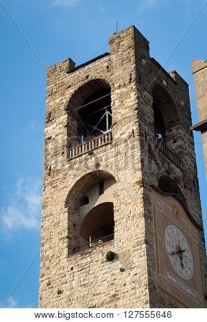Campanone Torre Civica a bell tower near Basilica di Santa Maria Maggiore in Bergamo Italy