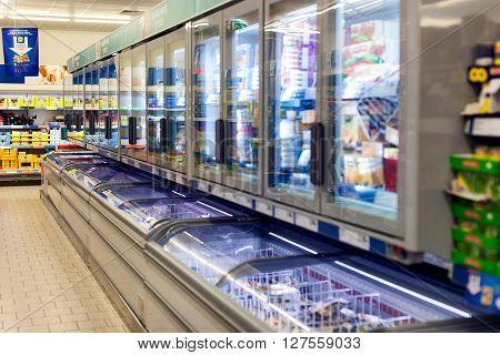 CYPRUS, PROTARAS, SUPERMARKET LIDL - 19 SEPTEMBER 2015: Fidges with food in the supermarket