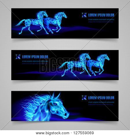 Set of banners with horses in blue flame