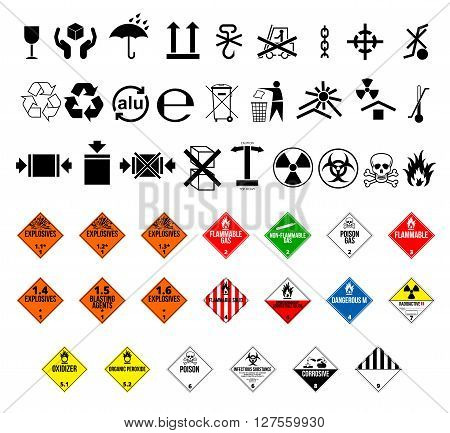 Cargo and package symbols and  danger hazard cargo material symbols. Vector EPS8 set