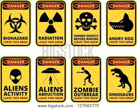 Vector warning humorous signs with sci-fi and rare hazards - vector set