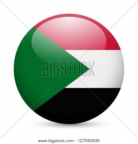 Flag of Sudan as round glossy icon. Button with Sudanese flag