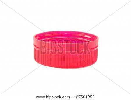 red plastic closure with a band for water bottled