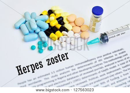 Syringe with drugs for herpes zoster treatment