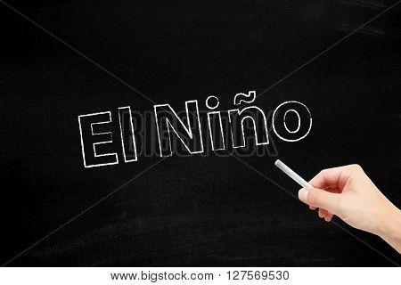 El Nino written with chalk