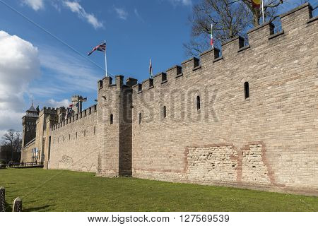 Walls of Cardiff Castle - Wales, Great Britain poster