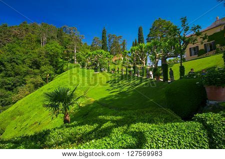 VILLA BALBIANELLO ITALY - May 17 2015 - View to garden in Villa Balbianello Italy. Villa was used for several films scene like Casino Royale and Star Wars.