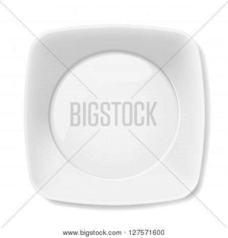Illustration of empty white flat plate isolated on white background