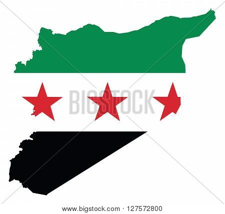 Map of Syria with Flag in the Middle East