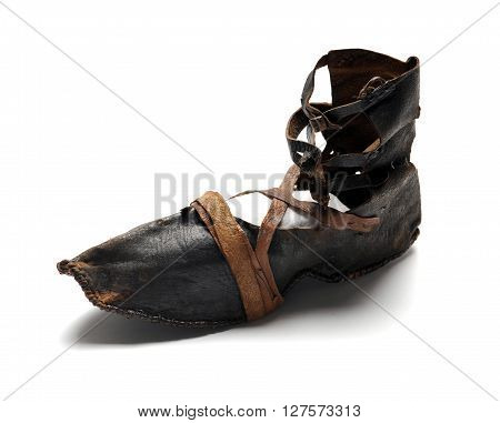 Old women leather shoe with straps at white