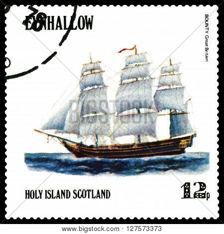 STAVROPOL RUSSIA - APRIL 09 2016: a stamp printed by Scotland shows old Sailing ship Bounty Great Britain circa 1984 .