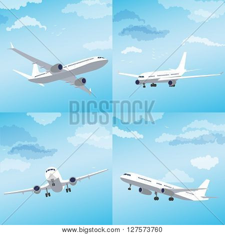 Set with modern airplane, flying through clouds in the blue sky. Vector illustration