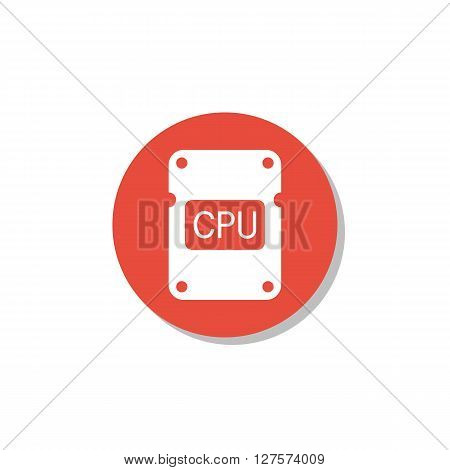 Cpu Icon In Vector Format. Premium Quality Cpu Symbol. Web Graphic Cpu Sign On Red Circle Background