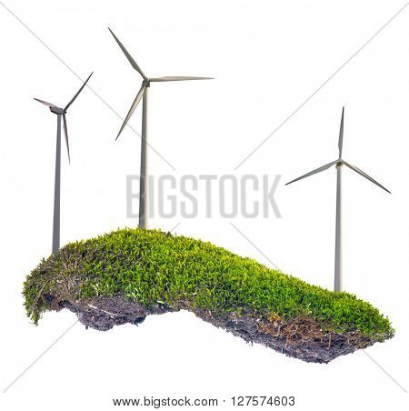 wind power generator in green moss isolated on white background