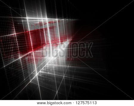 Abstract background element. Fractal graphics series. Three-dimensional composition of intersecting grids. Information technology concept. Red and white on black colors.