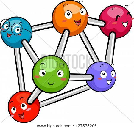Mascot Illustration Featuring a Group of Atoms