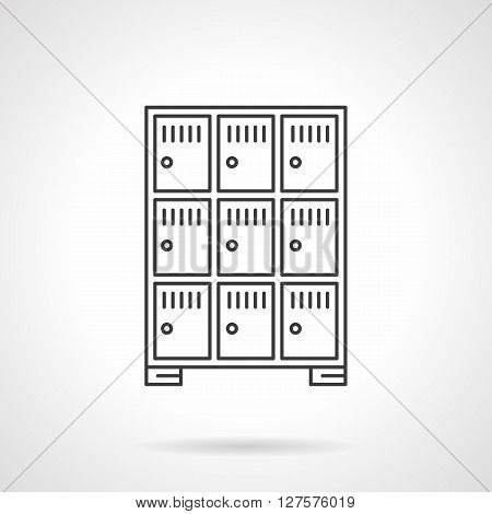 Lockers cells in a luggage office or a cloakroom. Equipment for luggage space. Flat line style vector icon. Single design element for website, business.