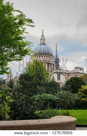 St Paul's Cathedral in London against a cloudy sky. By the architect Sir Christopher Wren.