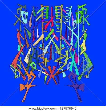 Abstract ornament painted by hand. Color vector illustration